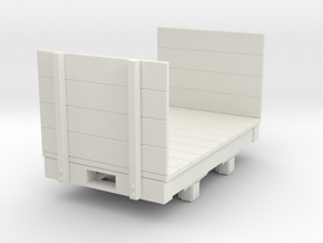Gn15 small 5ft flat wagon with high ends  in White Strong & Flexible