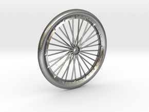 Bicycle wheel miniature in Natural Silver