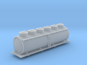 Six Dome Tank Car - Zscale in Smooth Fine Detail Plastic