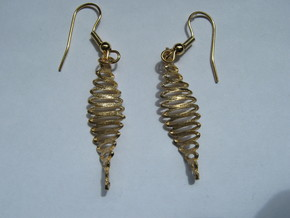 Twisted Curves 3 Earrings in Raw Bronze