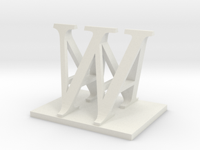 Two way letter / initial A&W in White Natural Versatile Plastic