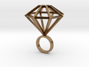 Big Diamond Ring - size 6 in Natural Brass
