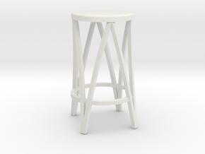 Miniature 1:24 Metal Stool in White Natural Versatile Plastic