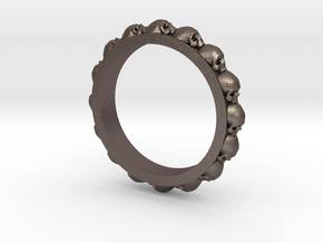 Skull Ring Eternity Style size 9 in Polished Bronzed Silver Steel