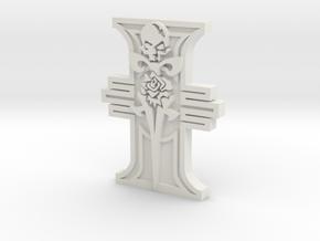 Ridged Rosette Rose Skull Dagger in White Natural Versatile Plastic