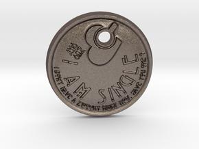 "ZWOOKY keychain ""I am single""   -   ready to start in Polished Bronzed Silver Steel"