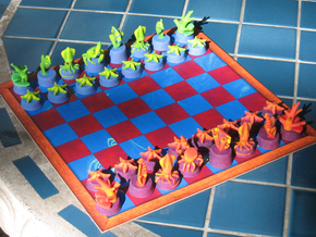 Sea Chess Pieces - Small in Full Color Sandstone
