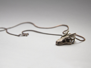 Dragon Skull Pendant in Polished Bronzed Silver Steel