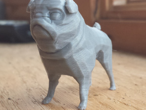 Pug Figurine in White Natural Versatile Plastic