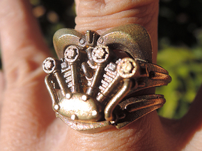 V-Twin Ring (8.5) in Natural Brass