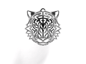 Tiger Head Pendant in Rhodium Plated Brass