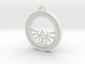 Tri-force Circle-pendant in White Natural Versatile Plastic