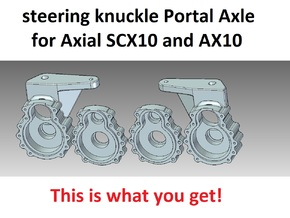 Portal Axle - Axial AX10, SCX10, steering knuckle  in White Strong & Flexible