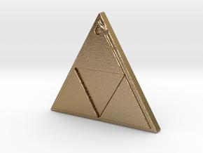 Zelda Triforce Logo Necklace in Polished Gold Steel