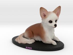 Custom Dog Figurine - Kiwi in Full Color Sandstone