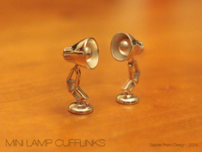 Mini Lamp Cufflink (order 2 for set) in Polished Silver