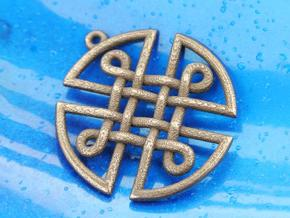 Celtic Shield Pendant in Polished Bronze Steel