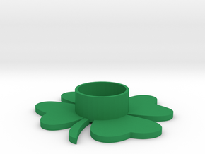 Clover tealight holder in Green Processed Versatile Plastic