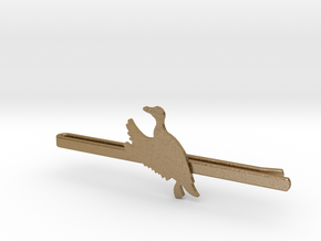 Duck 2 Tie Clip  in Polished Gold Steel