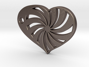 Spiral Heart in Polished Bronzed Silver Steel