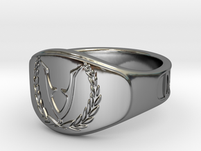 RingVet-Text-18Diam in Fine Detail Polished Silver