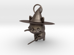 Magician of black cat in Polished Bronzed Silver Steel