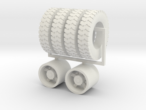 "1:64 22.5"" Dayton Rear wheels & 22.5"" Gripper tire in White Natural Versatile Plastic"