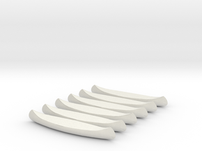 6 N-scale Canoes in White Natural Versatile Plastic