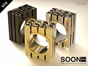 QUAD RING - SIZE 7 in Polished Brass