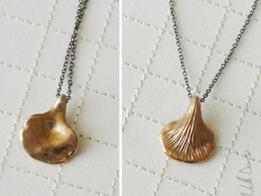 Tear Drop Oyster Mushroom Pendant in Raw Bronze