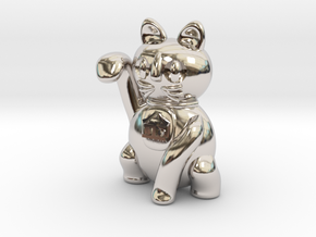 Manekineko luck with money pendant in Platinum