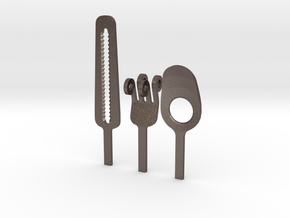 Knife Fork Spoon Head Set - Innovation vs. Utility in Polished Bronzed Silver Steel