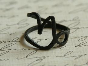 Capricorn Zodiac Ring in Matte Black Steel