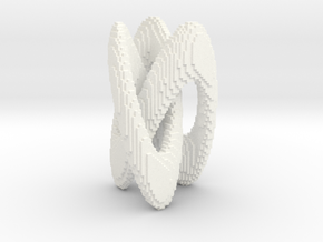 Trifold Knot - Pixelated in White Processed Versatile Plastic