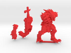 Kurgan with Cannon in Red Processed Versatile Plastic