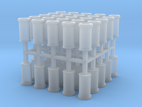50x 2mm scale Plain Roll Top chimney pots in Smooth Fine Detail Plastic