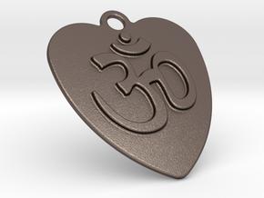 Om in Polished Bronzed Silver Steel