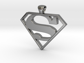 Superman Pendant - smaller in Polished Silver