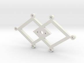 Diamond Hearts Pendant - By Elise in White Natural Versatile Plastic