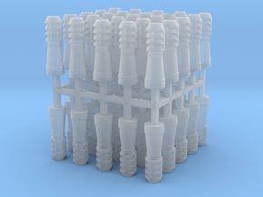 50x 2mm Scale Louvre Style Chimney Pots in Smooth Fine Detail Plastic
