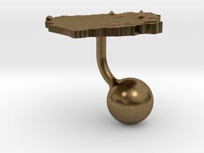Sierra Leone Terrain Cufflink - Ball in Natural Bronze