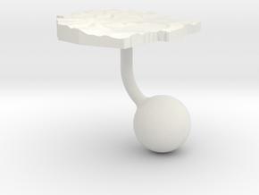 Swaziland Terrain Cufflink - Ball in White Natural Versatile Plastic