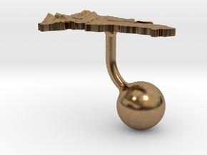 Dominican Republic Terrain Cufflink - Ball in Natural Brass