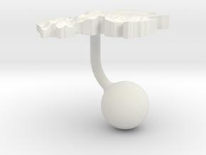 Gabon Terrain Cufflink - Ball in White Natural Versatile Plastic