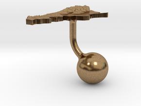 Argentina Terrain Cufflink - Ball in Natural Brass