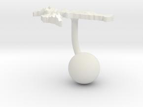 Croatia Terrain Cufflink - Ball in White Natural Versatile Plastic