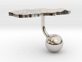New Zealand South Island Terrain Cufflink - Ball in Platinum