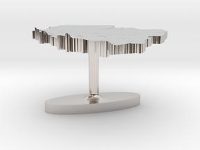 Poland Terrain Cufflink - Flat in Platinum