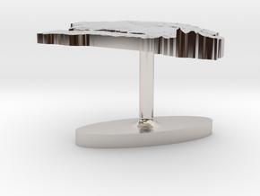 Senegal Terrain Cufflink - Flat in Platinum