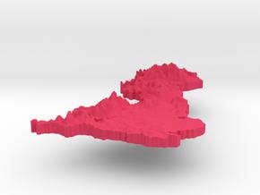 United Kingdom Terrain Silver Pendant in Pink Processed Versatile Plastic